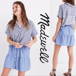 Madewell Blue Striped Button Up Bistro Skirt Small